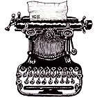 Vintage Typewriter black and white pen ink drawing by Vitaliy Gonikman