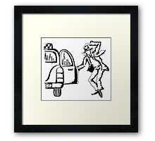 Wind in New York City black and white pen ink drawing Framed Print
