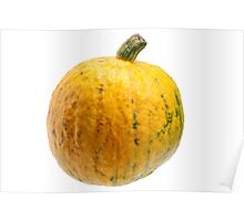 Yellow pumpkin isolated on white background. Poster