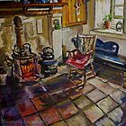 """Kitchen Fireside, Drumnahunshin Farmhouse, Cultra, County Down."" by Laura Butler"
