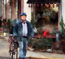 Man Crossing Street With Bicycle by Susan Savad