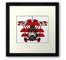 Red Baron airplane funny cartoon Framed Print