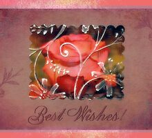 Pinky Orange Rose Best Wishes Card by Sandra Foster