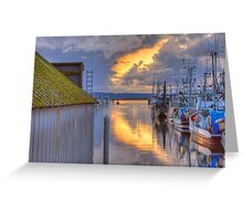 Burning Clouds in the Harbor Greeting Card