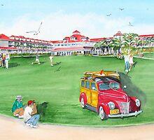 1940 Ford Woodie:  Marriott Hotel - Laguna Cliffs, Dan Point Ca  by Rob Beilby