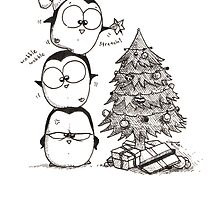 1 Christmas Tree, 3 Fat Penguins by afatpenguinshop