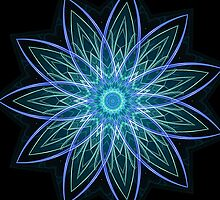 Fractal Flower Blue  by Leah McNeir