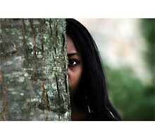 Girl Behind the Tree Photographic Print