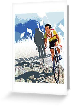 Vintage Retro Style Graphic Illustration Print Original : Tour De France Legend Hinault and Map by SFDesignstudio