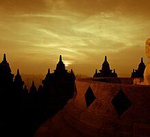 Borobudur at sunrise by Stephen Colquitt