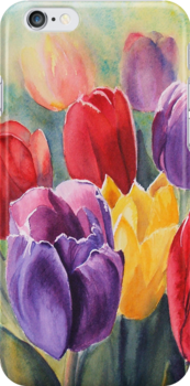 Rainbow Tulips iPhone case by Ruth S Harris