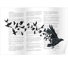 Vintage Style Print with Poem Text Edgar Alan Poe: Edgar Alan Crow Poster