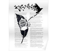 Vintage print with Edgar Alan Poe Poem and Raven Silhouette: Break Free  Poster