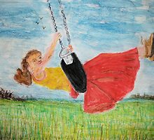 Girl on a swing by GEORGE SANDERSON