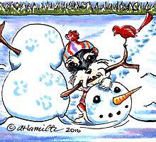 Schnauzer Snow Day by offleashart
