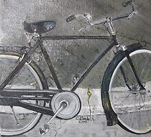 Bicycle in Rome Print From Original Oil Painting by Claudia Goodell