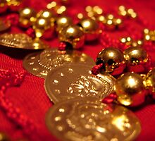 Red and Gold Coin Belt by Tracy Engle