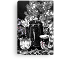 Morning Coffee Before Decorating Christmas Tree Canvas Print