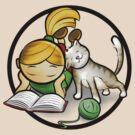 Girl & cute Kitten cartoony by ArtNouveau