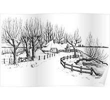Winter in Holland - Pen Drawing Poster
