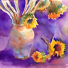 Sunflowers on Purple by Yevgenia Watts