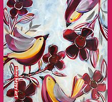 """Finches in the Flowers"" by Anna Bartlett by annabartlett"