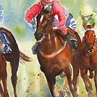 The Chase - horse racing iPhone case by Ruth S Harris
