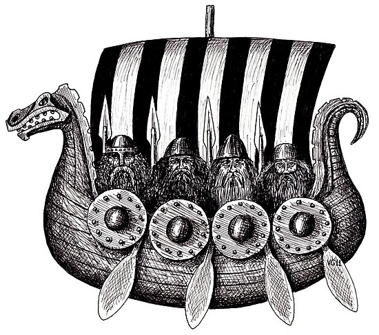 Vikings in the Drekar black and white pen ink drawing by Vitaliy Gonikman