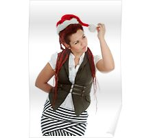 Young modern christmas girl isolated on white background. Poster