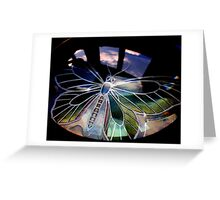 Butterfly and magnifying glass near the window Greeting Card