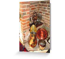 Antique Copper Utensils - Ye Olde White Hart Hotel Greeting Card