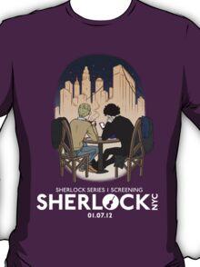 Sherlock NYC - SCREENING - Night (White Logo) T-Shirt