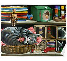 Cat Naps #1 - animal art oil painting Poster