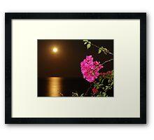 The coloured Bougainvilleas, the Pacific Ocean and the full Moon - Las Buganvillas de colores, el Oceano Pacifico y la Luna llena Framed Print