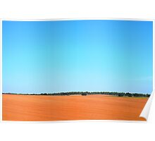 Blue Sky Over Plowed Field Poster