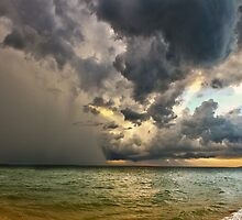 Making Ends Meet - Storm front Panorama Sunset by vanyahaheights
