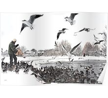 Feeding The Ducks - Ormskirk Poster