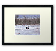 Christmas sledding in Wisconsin Framed Print