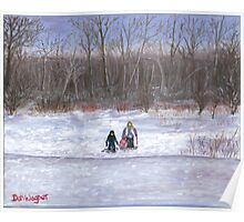 Christmas sledding in Wisconsin Poster
