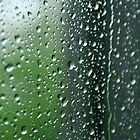 Heavy rain drops on summer window.  Wind of change by Anton Oparin