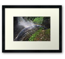 Bushkill waterfall with full spring water and rainbow at summer time Framed Print