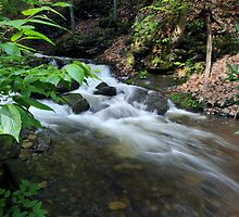 Bushkill waterfall creek with full spring water  by Anton Oparin