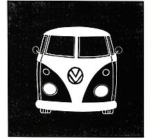 VW Splitty Linocut print (2011) by Richard Yeomans