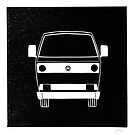 VW T25 Linocut print (2011) by Richard Yeomans