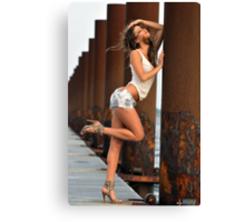 Sexy fashion model posing pretty at rusty boat marina Canvas Print