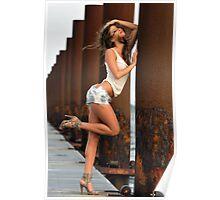 Sexy fashion model posing pretty at rusty boat marina Poster