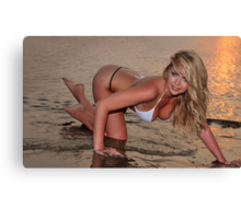 beautiful full body blond busty woman posing sexy on golden sunset beach Canvas Print