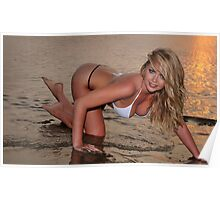 beautiful full body blond busty woman posing sexy on golden sunset beach Poster