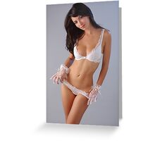 portrait of elegant brunette woman in sexy lingerie Greeting Card
