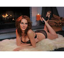 Beautiful redhead in lingerie laying in front of  fireplace Photographic Print
